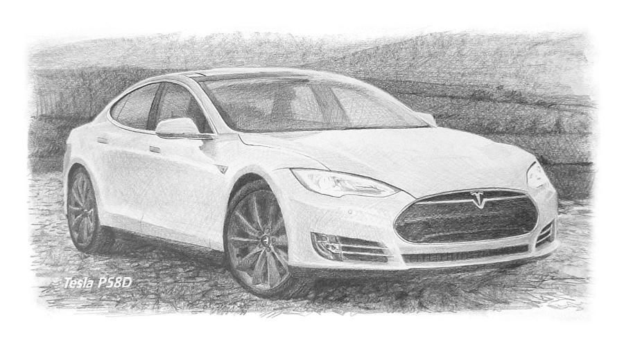 Tesla P58D electric car pencil drawing Drawing by Mike Theuer
