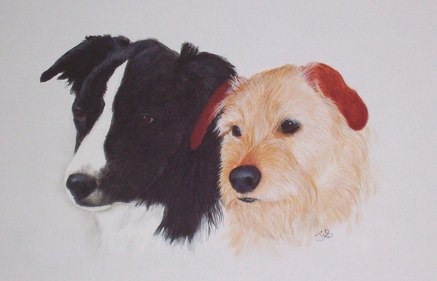 Pet Portrait Painting - Tess And Winston by Janice M Booth