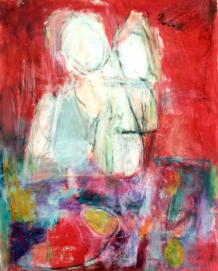 Red Painting - Tete-a-tete  by Patricia Byron