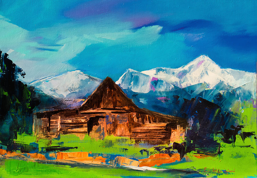 Barn Painting - Teton Barn  by Elise Palmigiani