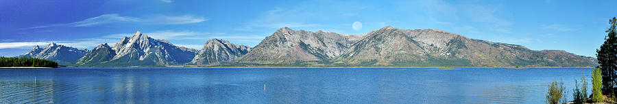 Teton Moonset Photograph - Teton Moonset Borderless by Greg Norrell