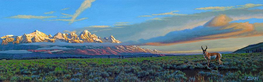 Teton Mountains Painting - Teton Morning by Paul Krapf