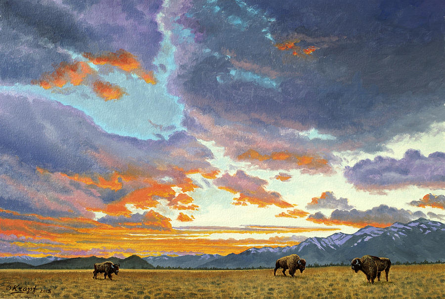 Teton Mountains Painting - Tetons-Looking South at Sunset by Paul Krapf