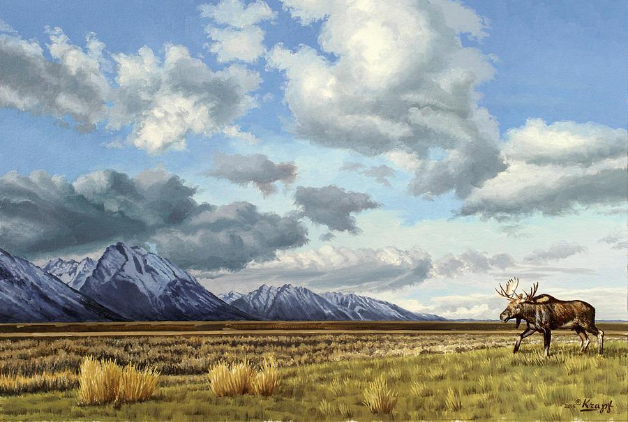 Teton National Park Painting - Tetons-Moose by Paul Krapf
