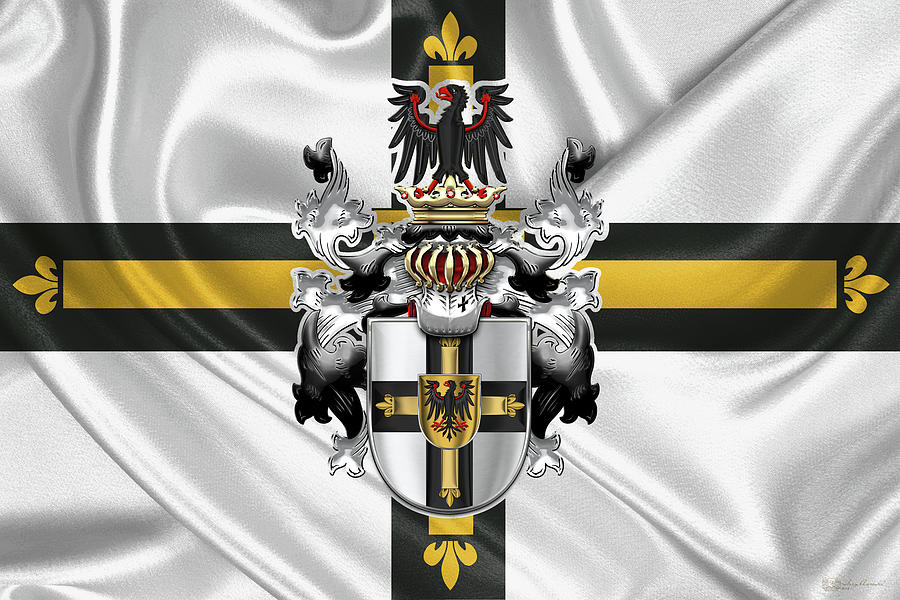 Teutonic Order - Coat of Arms over Flag by Serge Averbukh
