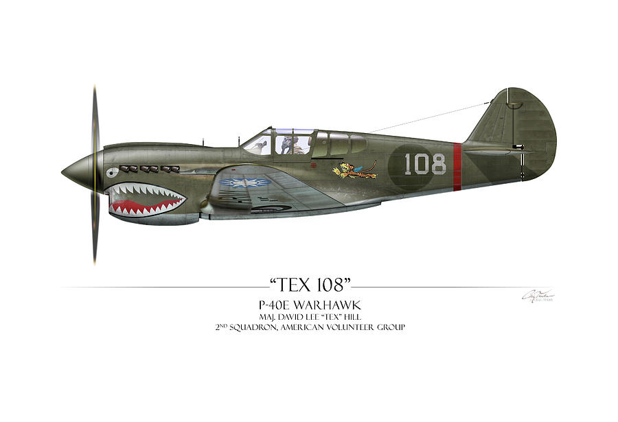 Tex Hill 108 P-40E Warhawk - White Background by Craig Tinder
