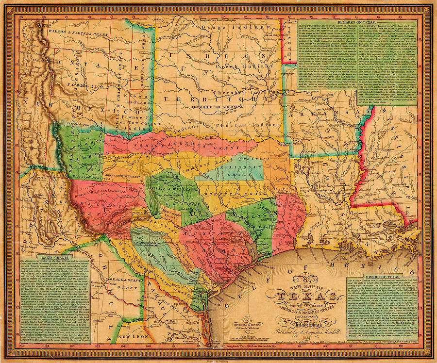 Texas 1835 by J. H. Young by Texas Map Store