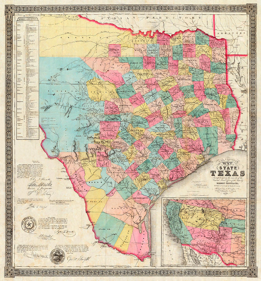 Texas 1856 by J. De Cordova by Texas Map Store