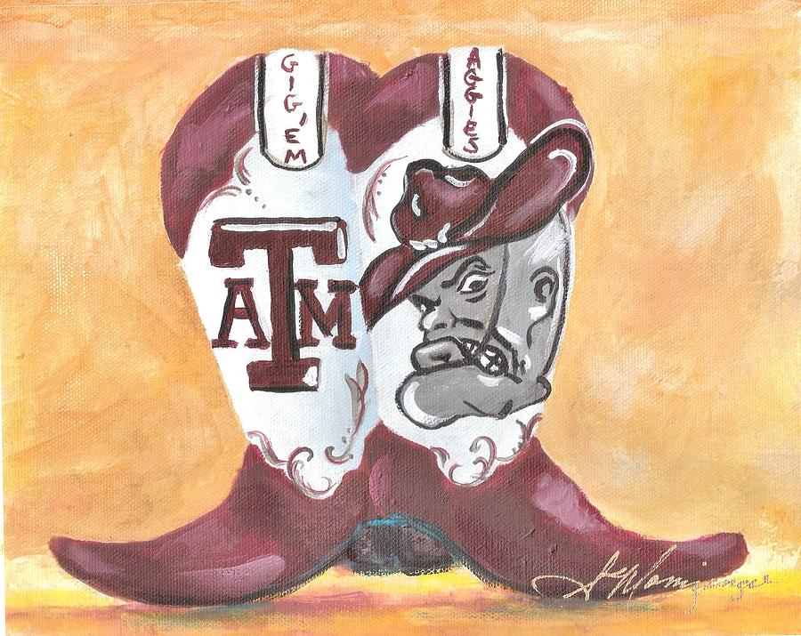 Texas A And M Boot Painting By Susie Monzingo