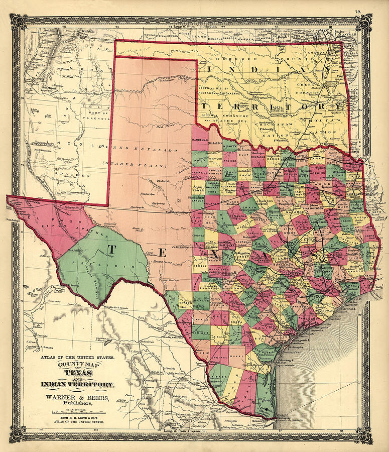 Texas and Indian Territory 1875 by Texas Map Store