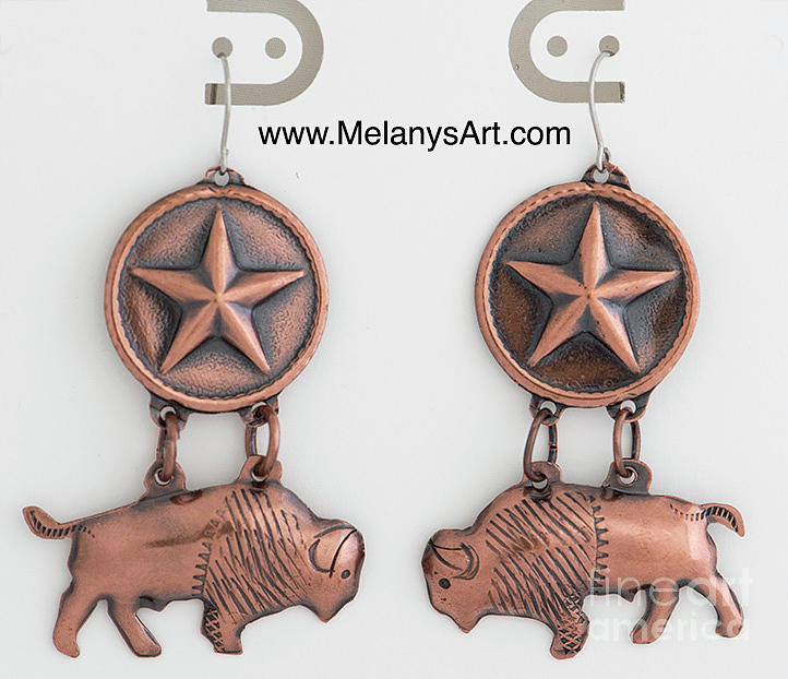 Texas Bison Copper Earrings by Melany Sarafis