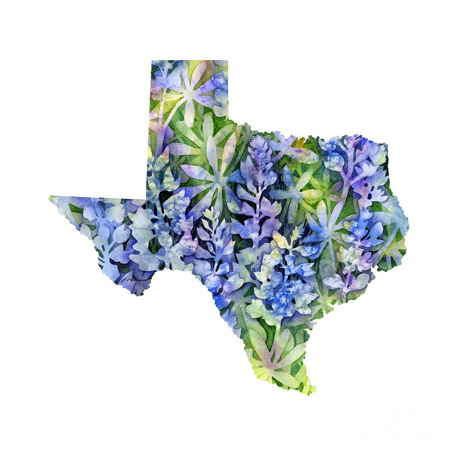 Texas Blue Texas Map On White Painting