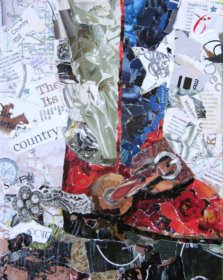 Torn Paper Collage Painting - Texas Boot by Suzy Pal Powell