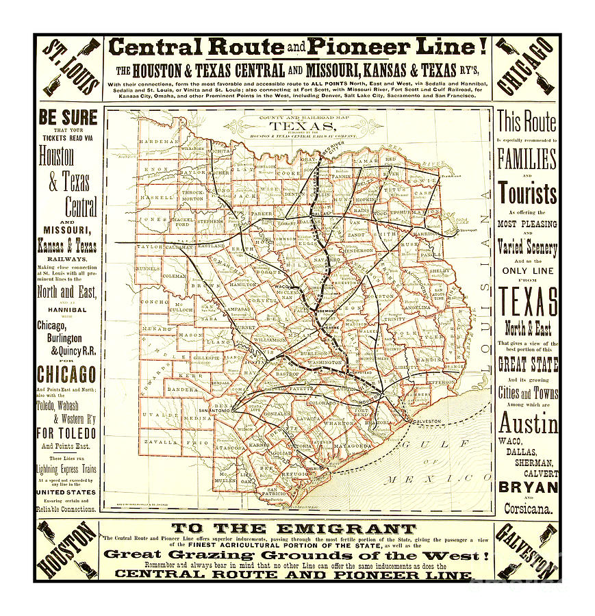 Railroad Map Of Texas.Texas Central Route And Pioneer Line County Railroad Map 1875 For Emigrants By Peter Ogden Gallery