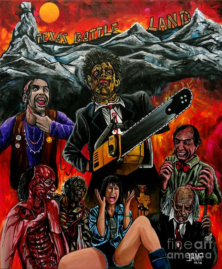 Texas Chainsaw Massacre Painting - Texas Chainsaw massacre 2 by Jose Mendez