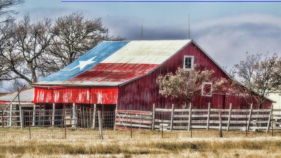 Landscape Photograph - Texas Flag Barn #6 by Ronnie Prcin