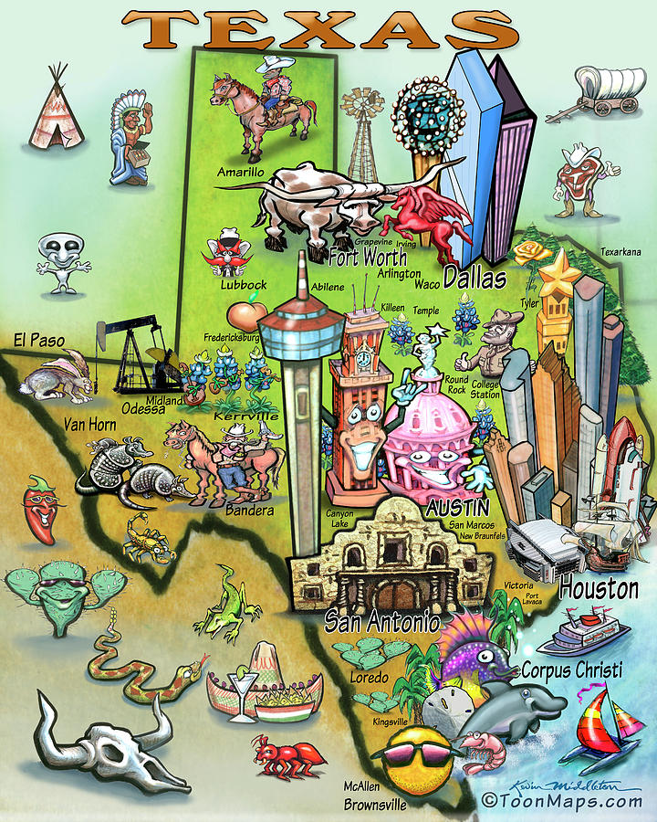 Texas Fun Map Digital Art