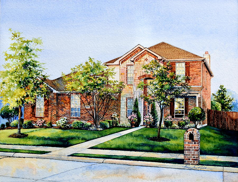 Texas Home Watercolor Painting