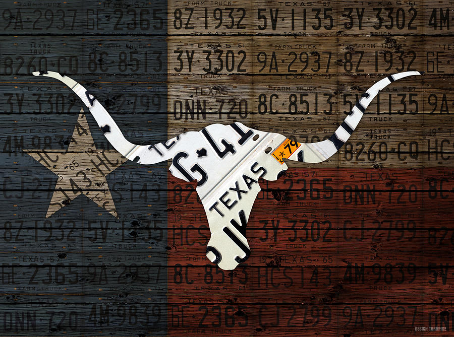 Texas Mixed Media - Texas Longhorn Recycled Vintage License Plate Art On Lone Star State Flag Wood Background by Design Turnpike