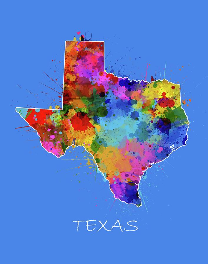 Texas Digital Art - Texas Map Color Splatter 3 by Bekim M