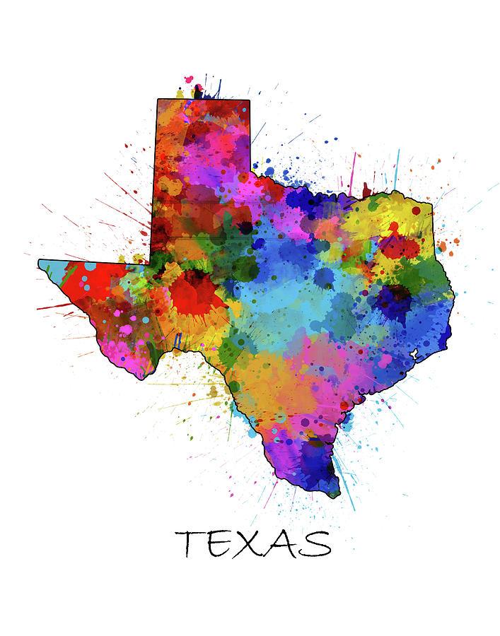Texas Digital Art - Texas Map Color Splatter by Bekim M