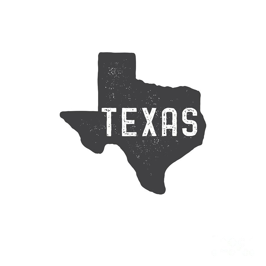 Texas Digital Art - Texas Map Tee by Edward Fielding