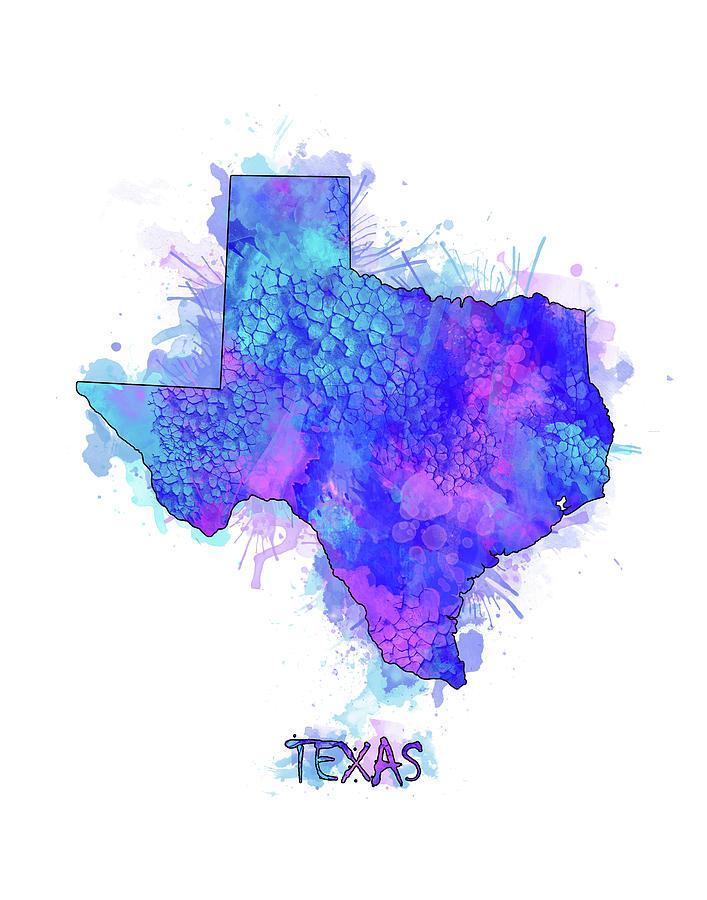 Texas Digital Art - Texas Map Watercolor 2 by Bekim M