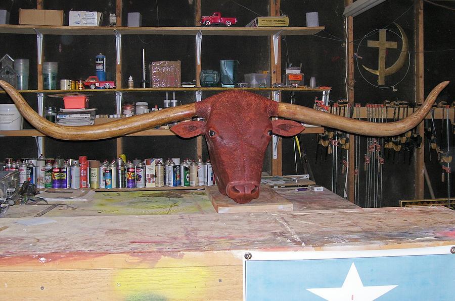 Longhorn Sculpture - Texas Monster Longhorn by Michael Pasko