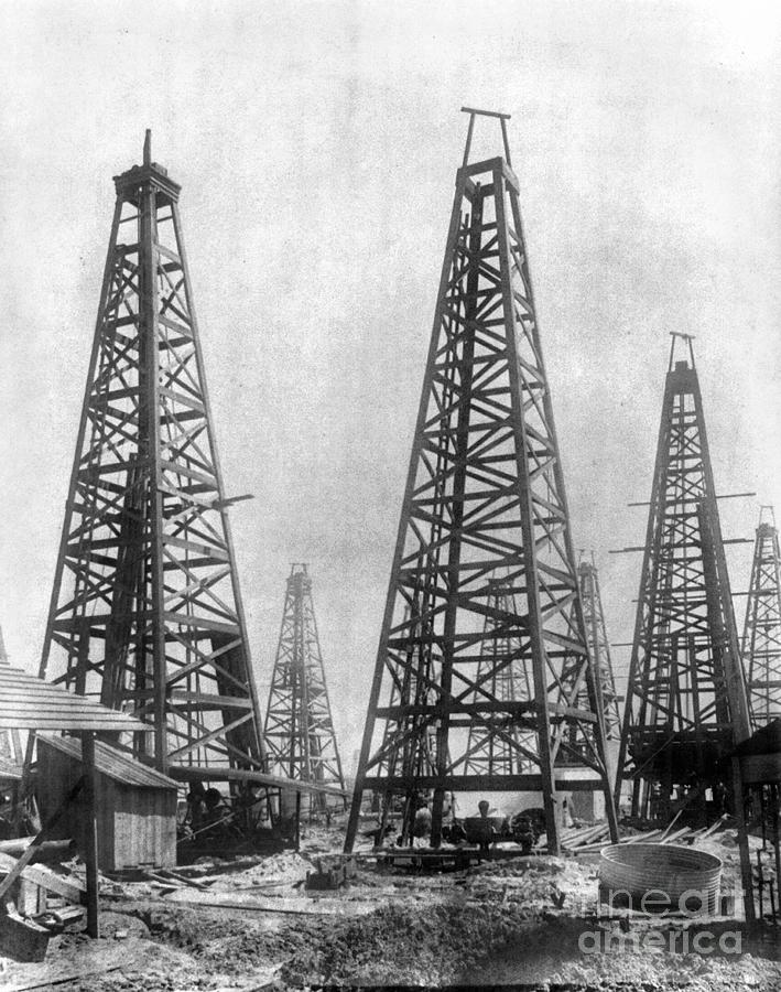 1901 Photograph - Texas: Oil Derricks, C1901 by Granger