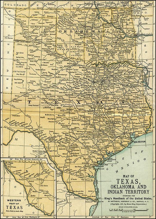 Texas Oklahoma Indian Territory Antique Map 1891