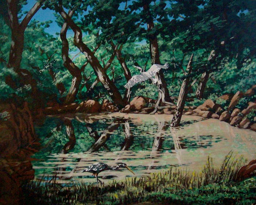 Heron Painting - Texas Pond by David  Larcom