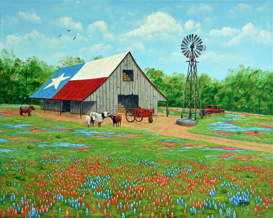Texas Ranch Barn Painting By Jimmie Bartlett