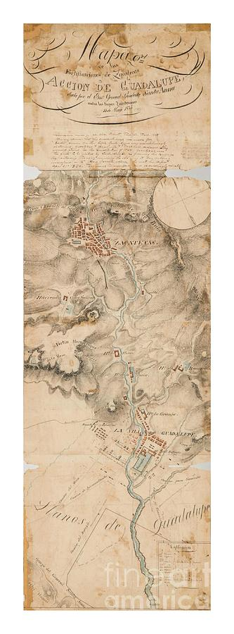 Texas Revolution Santa Anna 1835 Map For The Battle Of San Jacinto With Border Drawing