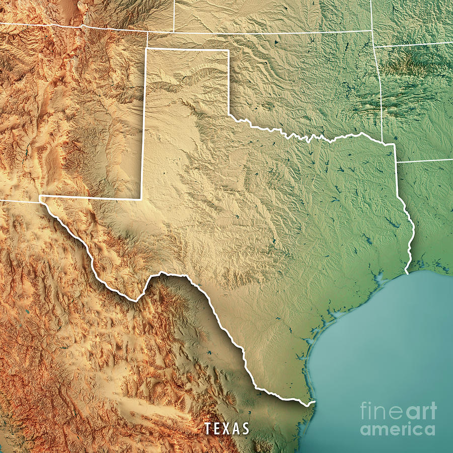 texas digital art texas state usa 3d render topographic map border by frank ramspott