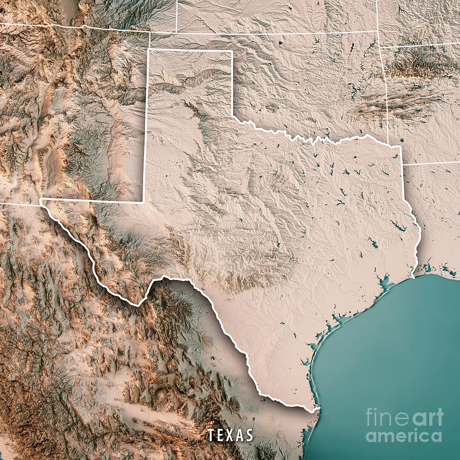 Texas State Usa 3d Render Topographic Map Neutral Digital Art By