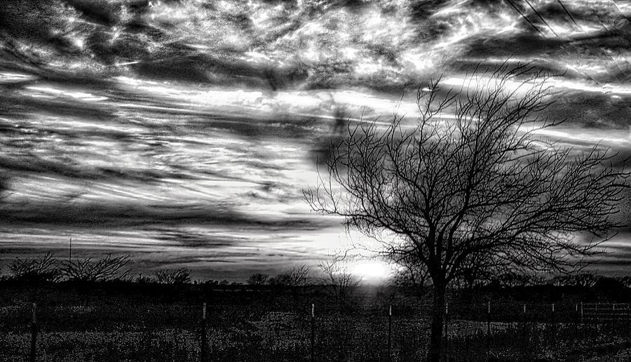 Texas Sunset BW by Linda James