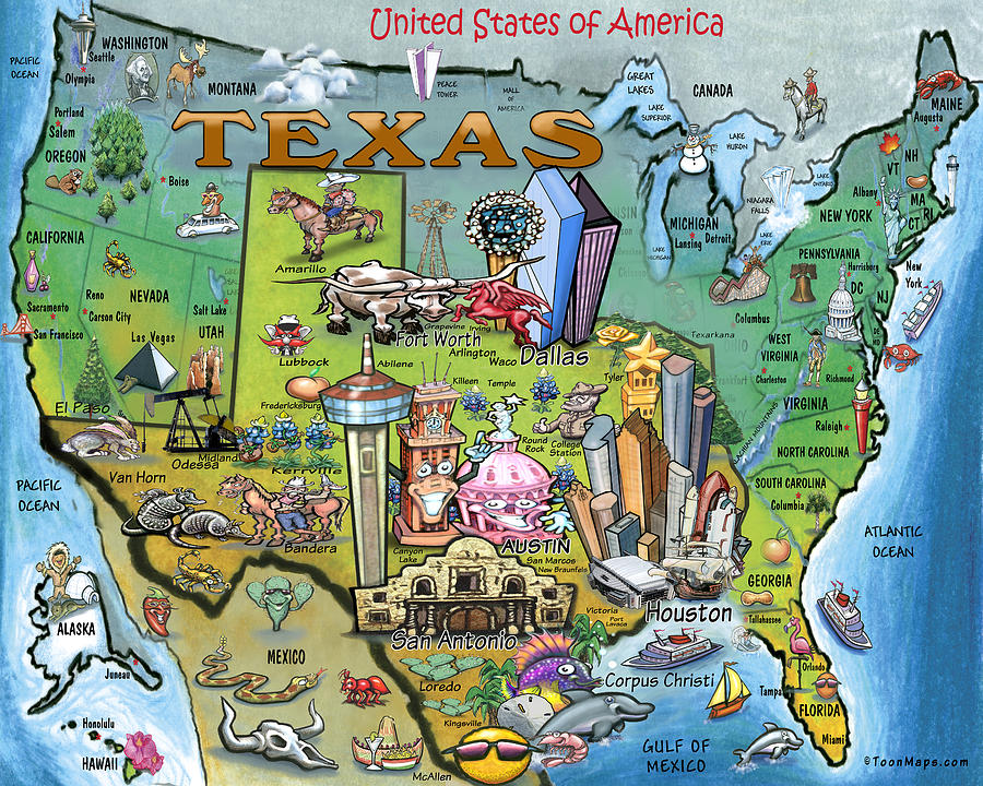 Texas U.s.a. Cartoon Map Digital Art