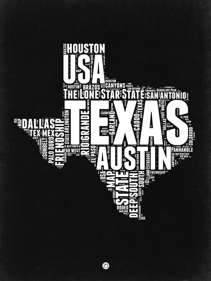 Map Of Texas Please.Texas Word Cloud Black And White Map