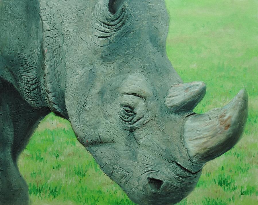 Oil Painting - Textured Rhino by Nolan Clark