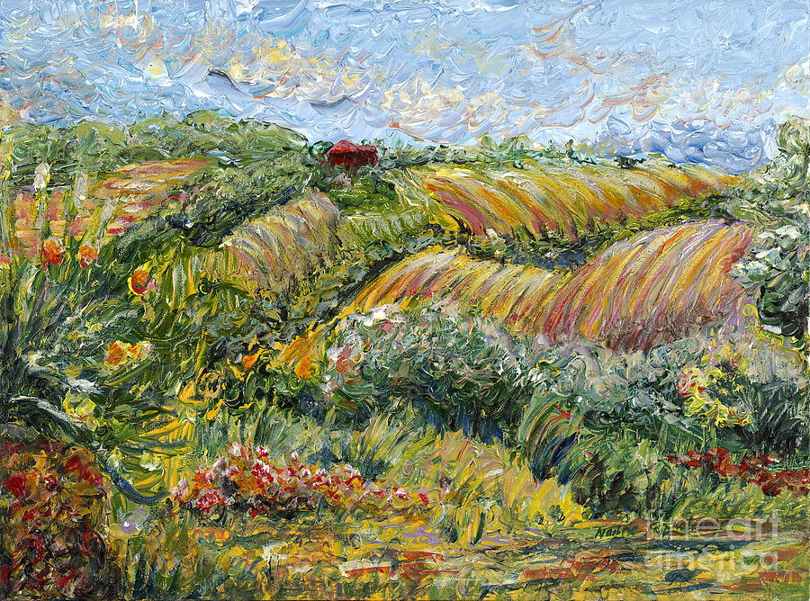 Texture Painting - Textured Tuscan Hills by Nadine Rippelmeyer