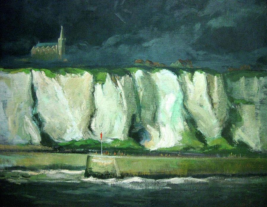 Landscape Painting - Tha Cliffs Of Etretat At Night by Zois Shuttie