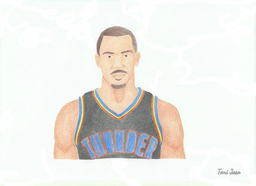 Basketball Drawing - Thabo Sefolosha by Toni Jaso