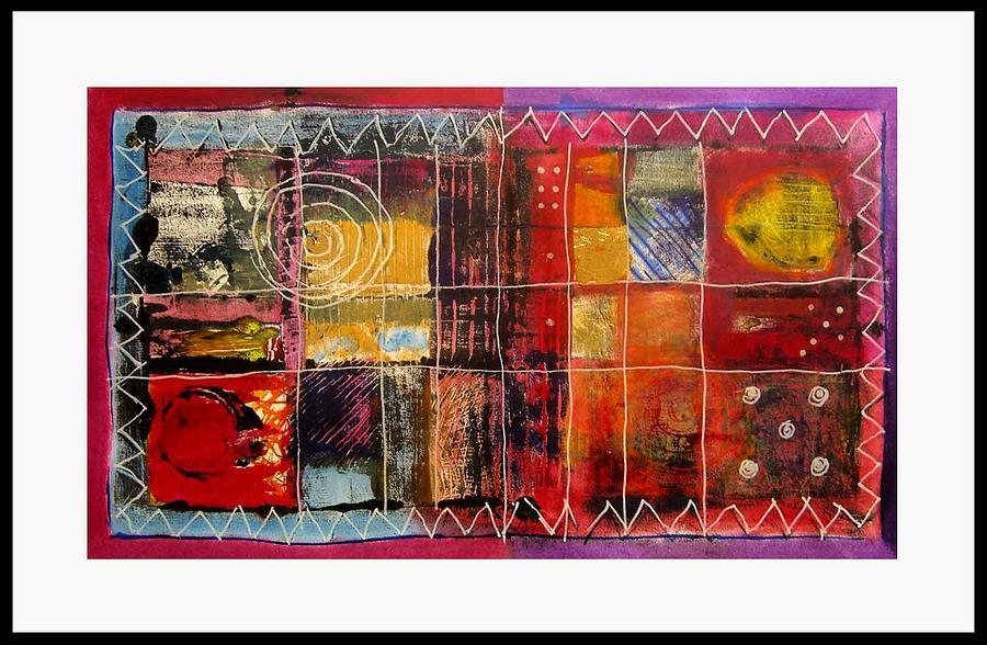 Mono Print Mixed Media - Thai Dominos Absract by Graham Hiskett