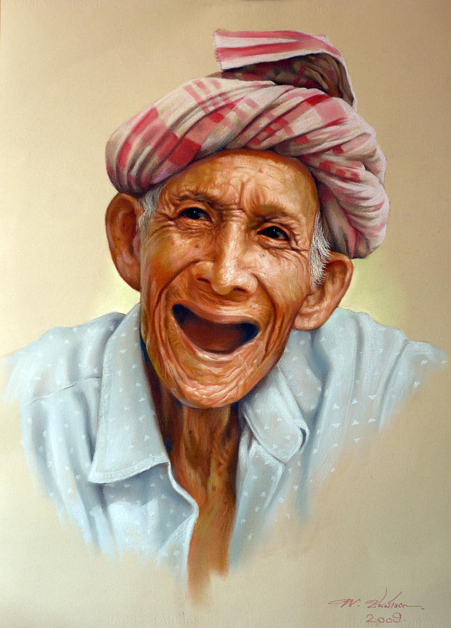 Pastel Painting - Thai Old Man2 by Chonkhet Phanwichien