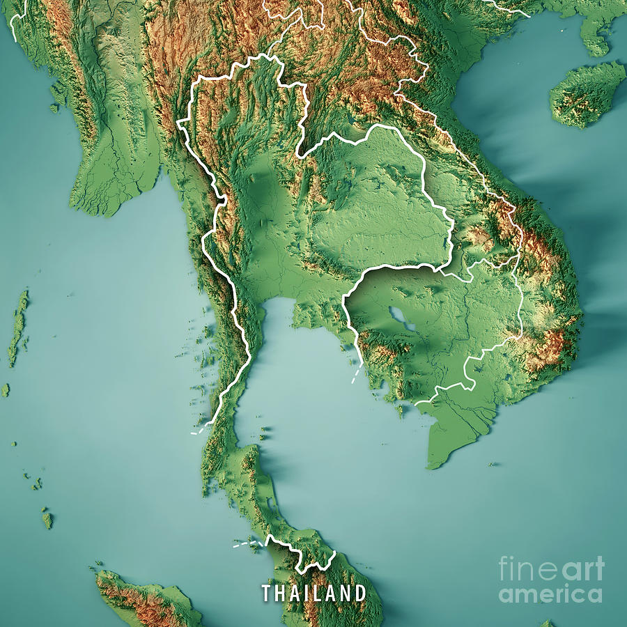 Thailand Topographic Map.Thailand 3d Render Topographic Map Border Digital Art By Frank