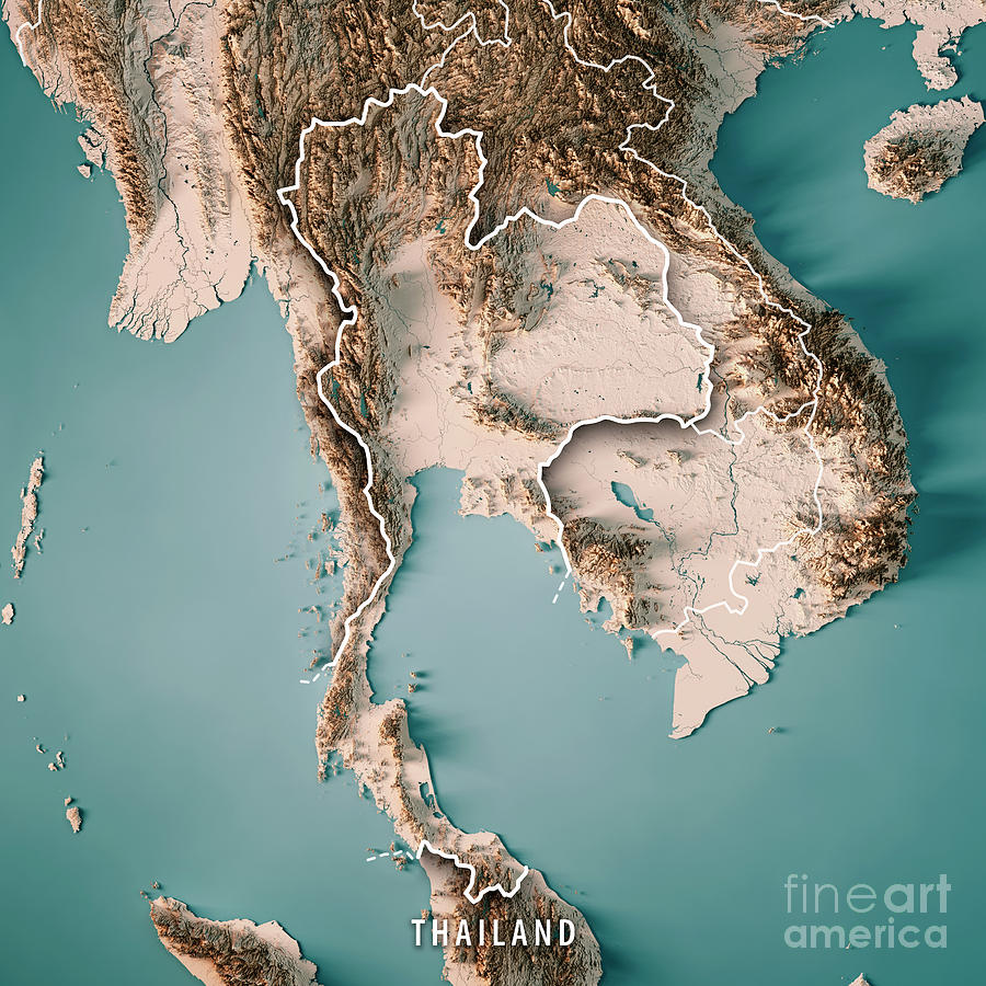 Thailand Topographic Map.Thailand 3d Render Topographic Map Neutral Border Digital Art By