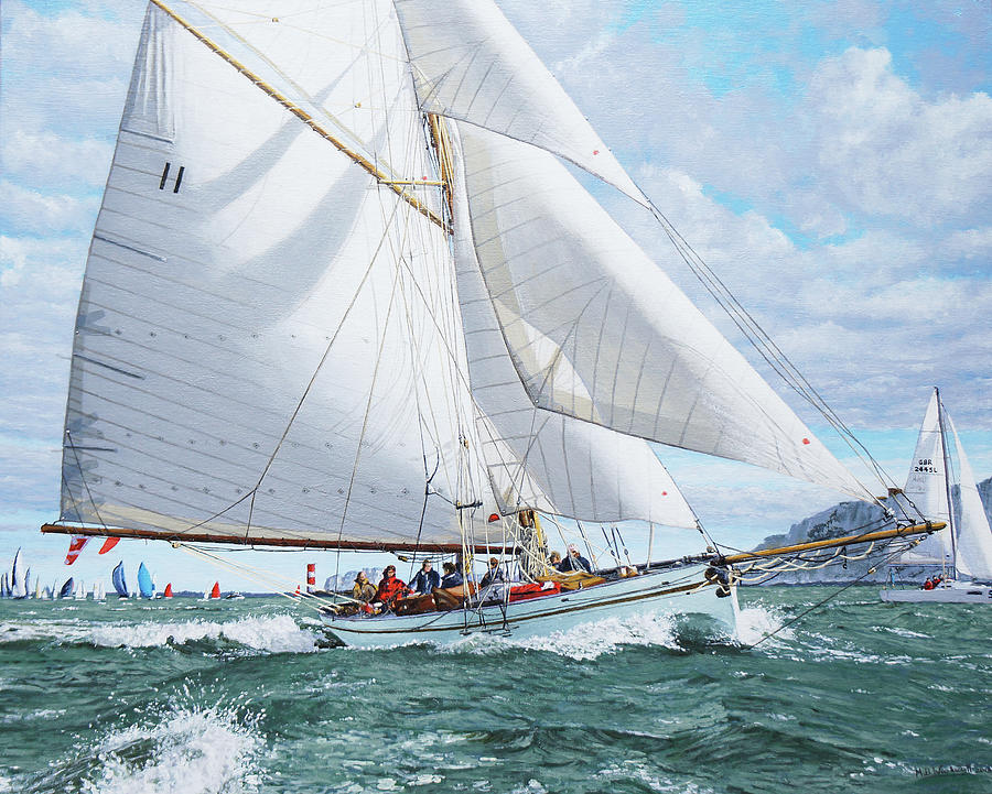 Royal Yacht Squadron Painting - Thalia In The Lee Of The Needles by Mark Woollacott