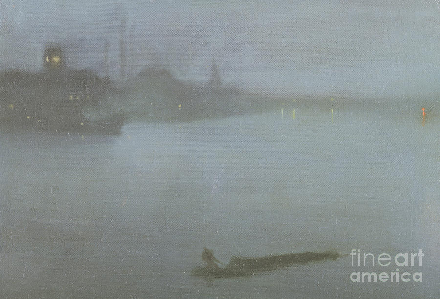 Whistler Painting - Thames   Nocturne in Blue and Silver by James Abbott McNeill Whistler