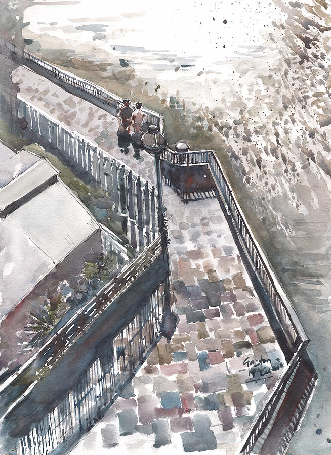 London Painting - Thames Riverwalk by Gaston McKenzie