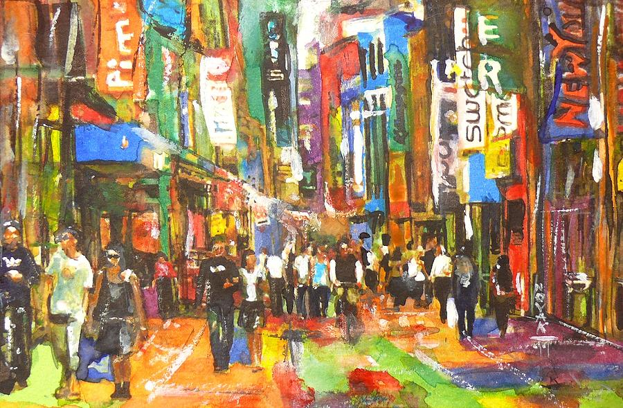 Cities Painting - Thank You For Shopping On Sunday by Dreja Novak
